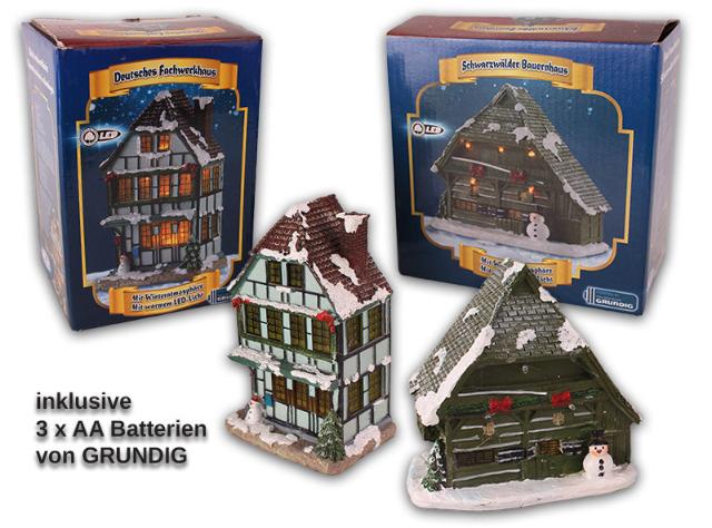 Winterhaus mit warmen LED-Lichtern inkl. Batterien Lichterhaus Weihnachten - 1,20 Euro