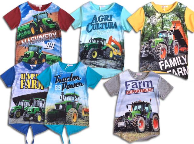 Kinder Jungen Kids Trecker Traktor Bauer T-Shirt Shirt Oberteil Kurzarm Kindershirt nur 5,19 Euro