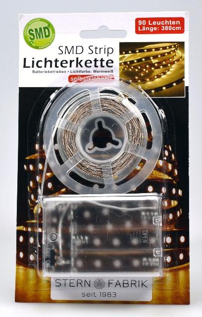 12-20254, Lichterkette Strip 90er, 380 cm, auch für Beleuchtung an Bilderrahmen, Weihnachten, indirekte Beleuchtung, usw