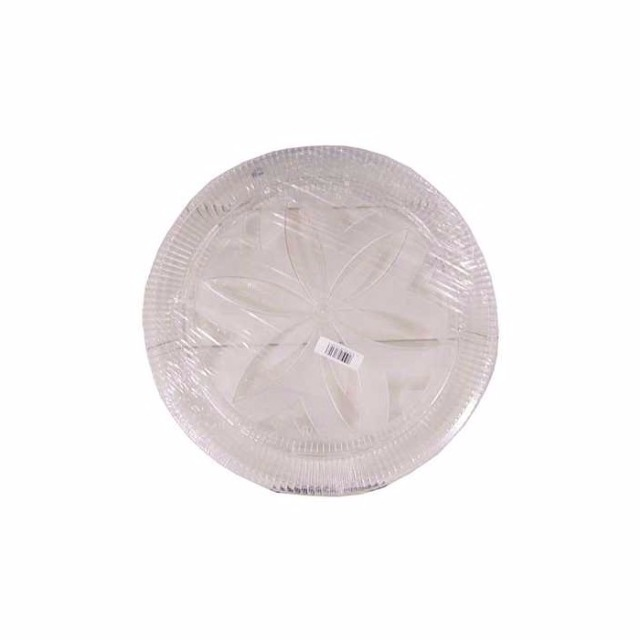 28-100119, Tortenplatte 32 cm transparent mit Blumenmotiv, Kuchenplatte