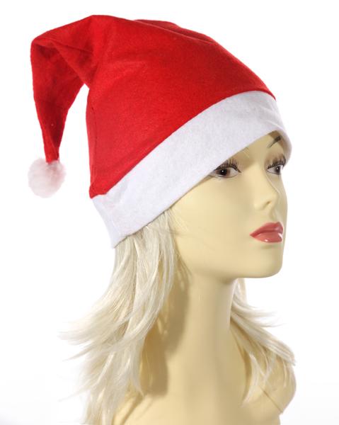 12-40110, Weihnahts Mütze, aus Filz mit Zipfel, Bommel, Nikolausmütze, Weihnachtsmütze