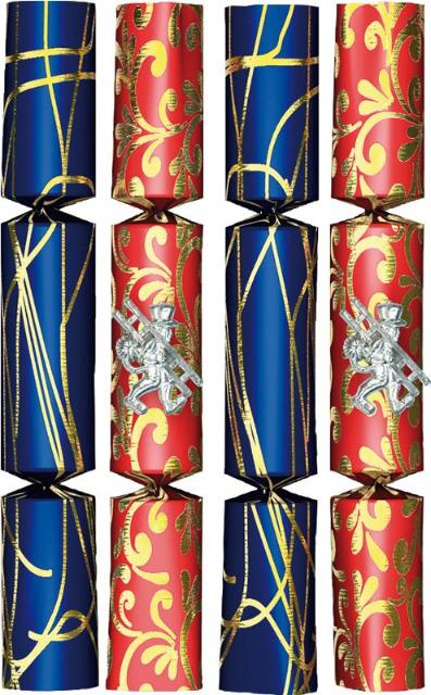 Knallbonbon 4er rot/blau ca. 22 cm für Silvester Geburtstag