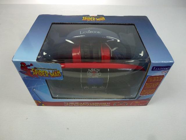 Lexibook Spider Man Mini Boom Box mit FM Radio, Kalender und Uhrfunktion, inkl. Stereo Kopfhörer