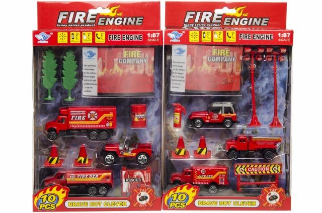 21-3852, Spielset Feuerwehr 10-teilig mit Metall Fahrzeugen, Einsatzfahrzeugen, Autos und Zubehör