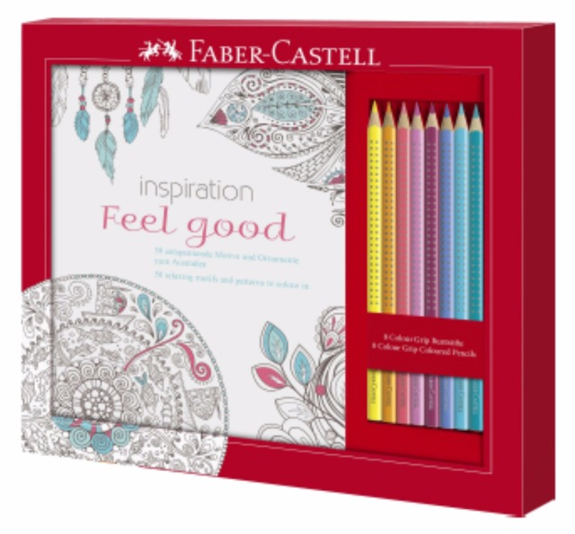 12-201434, FABER CASTELL ANTISTRESS SET, Ausmalset Feel Good mit 8 Colour GRIP Buntstiften
