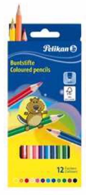 12-724005, Pelikan  Buntstifte 12er Pack, lackiert sechskant, Malstifte