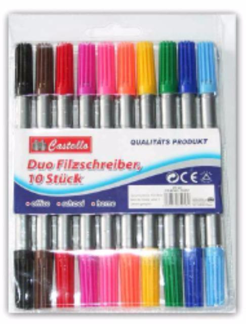 12-75557, Fasermaler DUO 10er Pack dick und dünn, Malstifte,