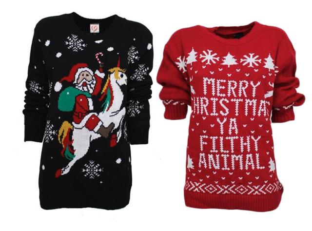 Damen Woman Weihnachten Strickpullover Einhorn Weihnachtsmann Christmas Pullover Pulli Langarm  - 13,59 Euro