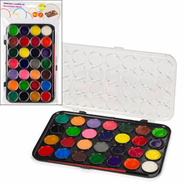 28-158617, Wasserfarben im Farbkasten 28 Farben mit Pinsel, Malkasten, Deckel als Mischpalette nutzbar, Malset