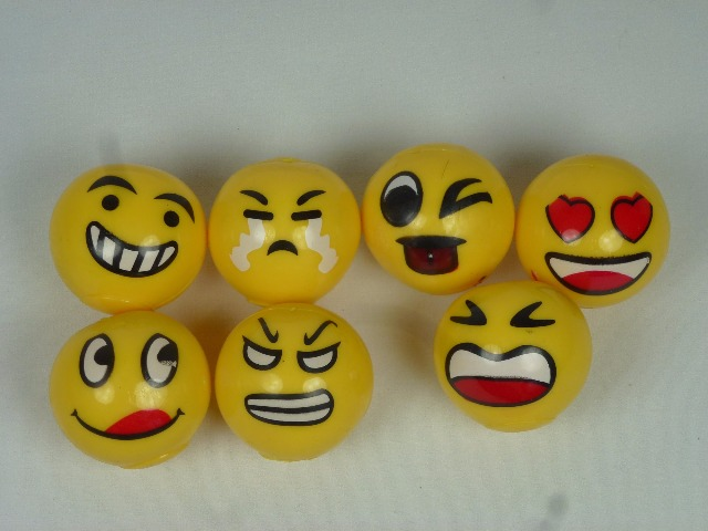 LED Leuchtball, 5,5 cm mit Lachgesichtern, Emoticon, Springball, Flummi