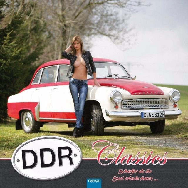 28-746000, Fotokalender 2018 DDR Sexy Girl Fahrzeug, statt 9,95, DDR-Oldtimer präsentiert von sexy jungen Damen