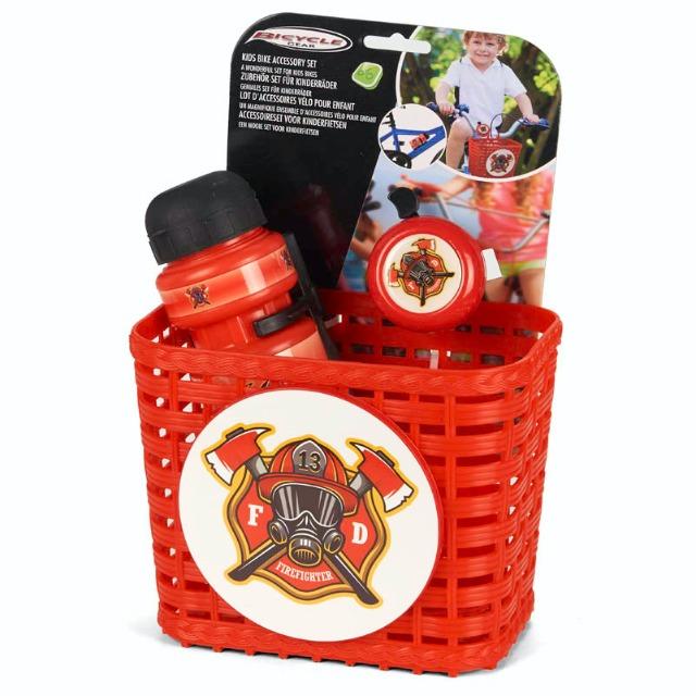 28-862255, Kinderfahrradkorb mit Zubehör, mit Trinkflasche, Fahrradklingel, Froschkönig und Feuerwehr