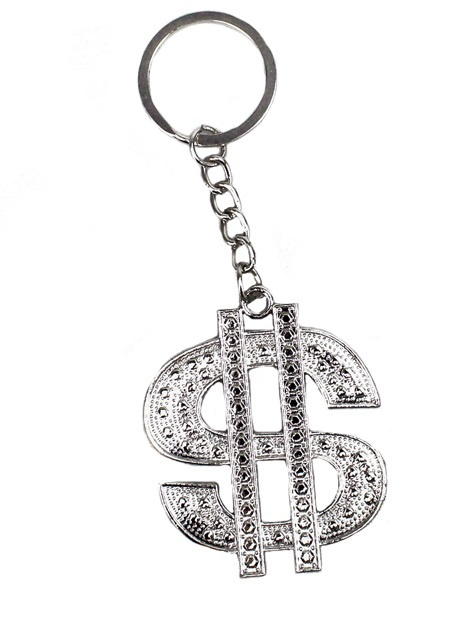 21-9917, Dollarzeichen Metall silber an Schlüsselanhänger, Schlüsselkette
