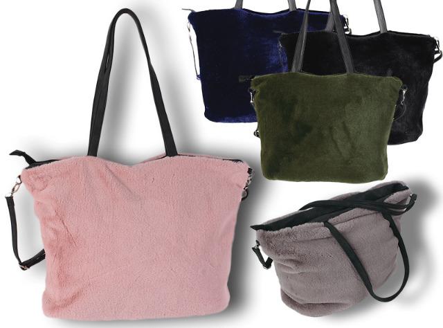Damen Trend Plüsch Taschen Umhängetasche Schultertasche Handtasche Shopper Mix - 14,90 Euro