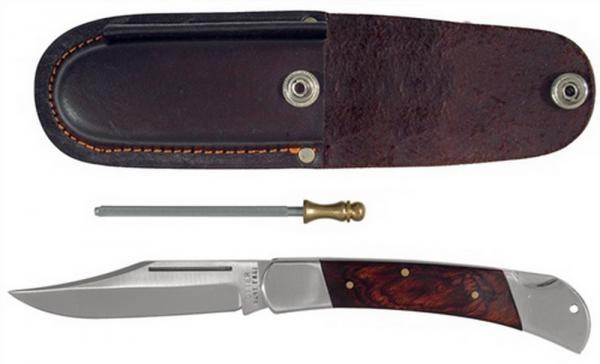 Vielzweckmesser Klingen-L.120mm Leder-Gürteletui mit Holzheft