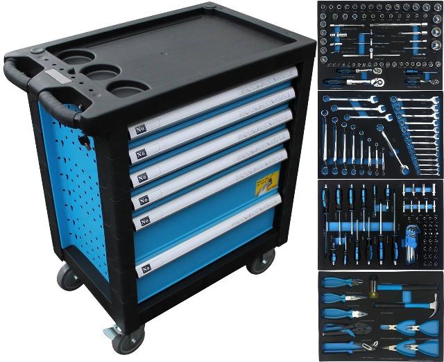 Werkzeugwagen Werkzeugschrank rollbar Werkstattwagen befüllt Werkzeugkasten Kiste Tool Box Chest Trolley
