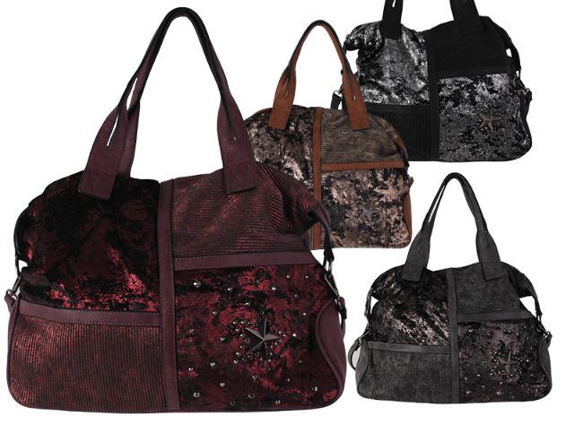 053066b625203 Damen Taschen Handtasche Schultertasche Umhängetasche Shopper Stern Nieten  Metallic Glitzer - 13