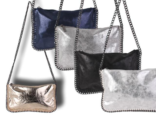 Damen Taschen Abendtasche Klein Handtasche Clutch Schultertasche Umhängetasche Kettentasche Ketten Metallic Lederlook Glitzer - 9,90 Euro