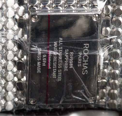 ROCHAS Damenuhr, Diamanten besetzte Damen Uhr mit Zertifikat fast 90% reduziert