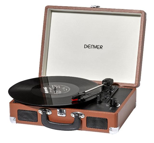 Denver VPL-120BrownMK2 portabler Plattenspieler mit USB Digitalisierungsfunktion Retro Musik MP3 Converter Vinyl mobil