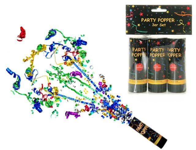 12-13528, Party Popper, 3er Set, Partypopper, Konfetti Bombe, Partyknaller, Kostüm, Konfettibombe, Konfettishooter