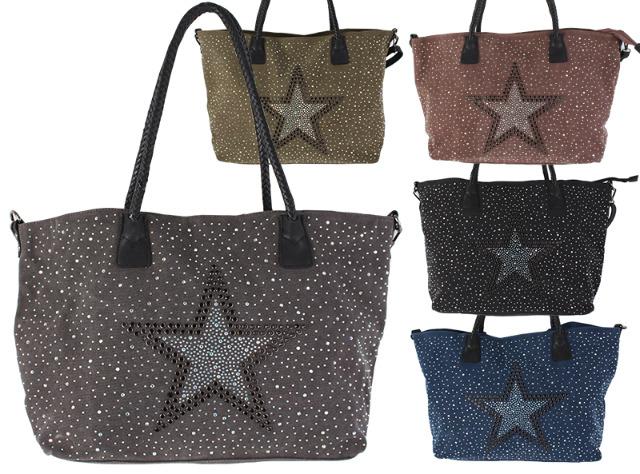 !Damen Taschen Glitzer Nieten Stern Canvas Handtasche Schultertasche Umhängetasche Shopper - 14,90 Euro
