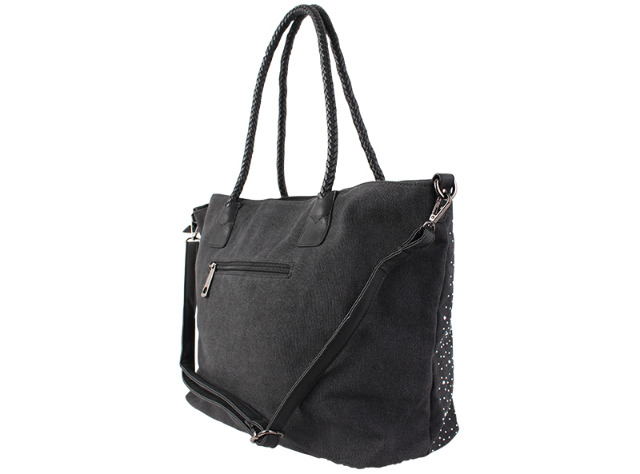 18c679fa9774b ... Damen Taschen Glitzer Nieten Stern Canvas Handtasche Schultertasche  Umhängetasche Shopper - 14