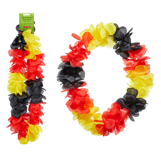 17-42429, EXTRA DICKE Stoff Blumenkette Deutschland, Hawaiikette, Blütenkette, Fasching, Mottopartys, Geburtstag, Event, Strand, Camping