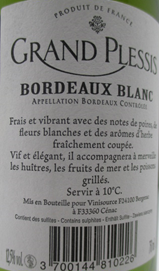 Aoc bordeaux blanc 2012 nf 75cl grand plessis