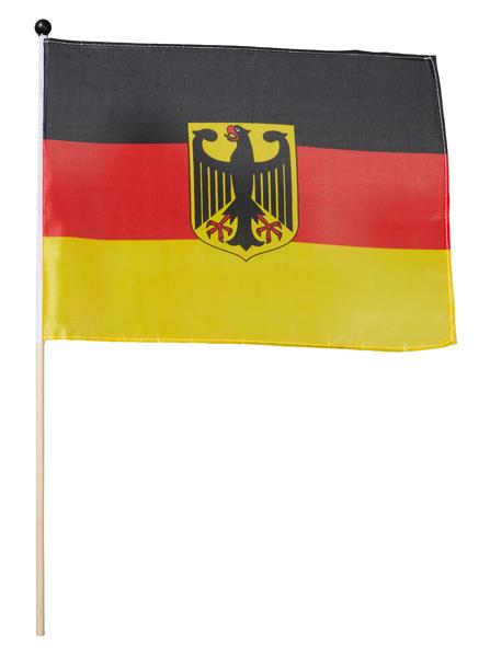 17-14701, Stabfahne Deutschland 30x45cm mit Adler an Holzstab 60 cm, BRD Fahne, Flagge, BRD Farben