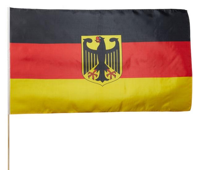 17-14705, Stabfahne Deutschland 90x150cm mit Adler an 180 cm Holzstab, BRD Farben, Flagge, Event, Fanmile, usw