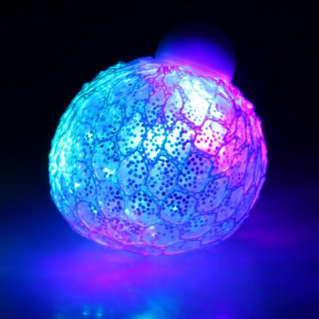 10-582750, LED-Glitzer Knautschball - Quetschball 120gr. 6 cm, Antistressball, LED Licht