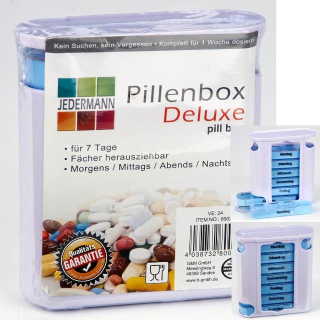 28-800212, Pillendose für 7 Tage, Ständerbox, Fächer einzeln herausziehbar mit je 4 Tageszeiten, Pillenbox