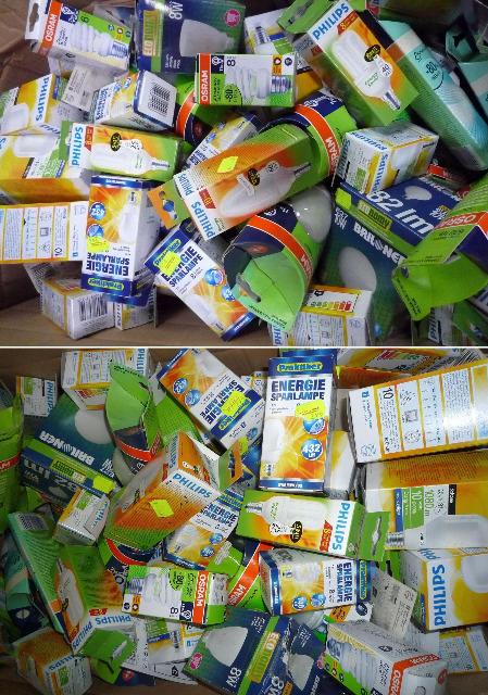 Mixboxen mit Energiespar- Leuchtmittel / Energiesparlampen, verschiedene Marken wie Philips, Osram u.a.
