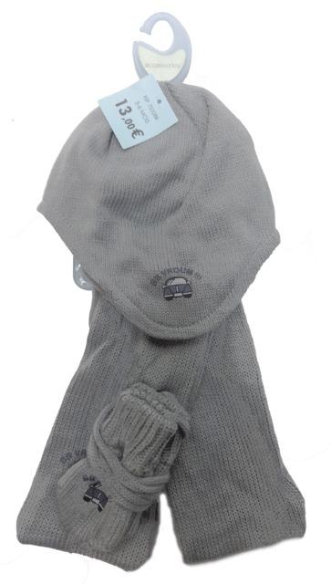 Graue Baby Winter Sets - Mütze & Fäustling + Schal