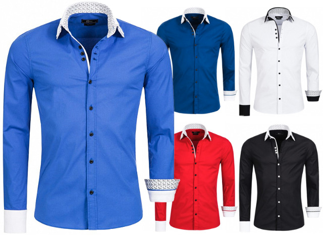 Hochwertiges Herren Hemd Casual Slim Fit Freizeit Business Herrenhemd Oberhemd Kontrast Kragen