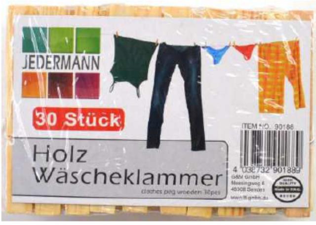12-90188, Holz Wäscheklammern 30er Pack