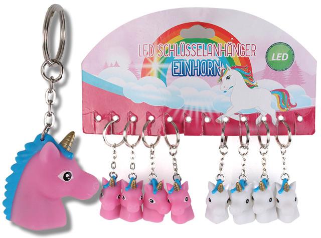 Schlüsselanhänger Metall Kunststoff Einhorn mit LED Licht Farbwechsel Schlüsselring Einhorn-Kopf in pink und weiß  - 2,19 Euro