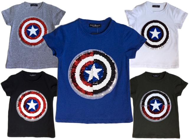 Kinder Jungen Mädchen T-Shirt Captain America Wende Pailletten Glitzer Shirt Shirts Oberteil Kurzarm Kindershirts Oberteil Unisex - 5,90 Eur