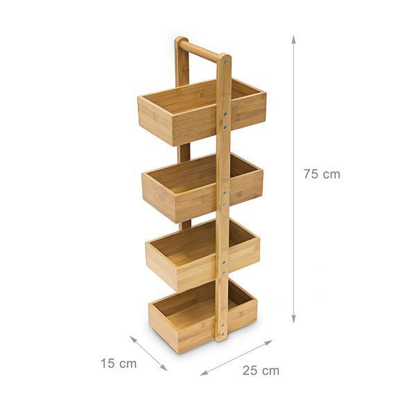 Bambus Ablageständer mit 4 Fächern