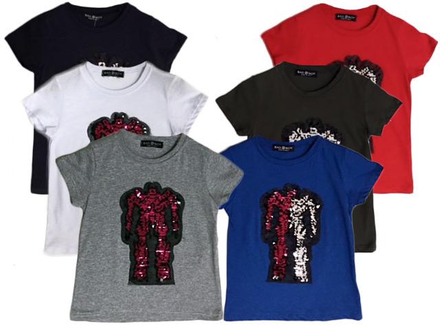 Kinder Jungen Mädchen T-Shirt Roboter Wende Pailletten Glitzer Shirt Shirts Oberteil Kurzarm Kindershirts Oberteil Unisex - 5,90 Euro