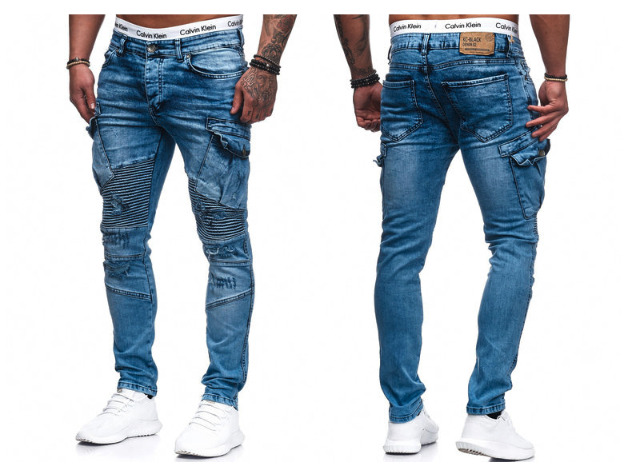1c3b2cde423ff2 Modische Herren Jeanshose Vintage Destroyed-Look Cargohose Slim-Fit Hosen  Jeans Denim Washed -