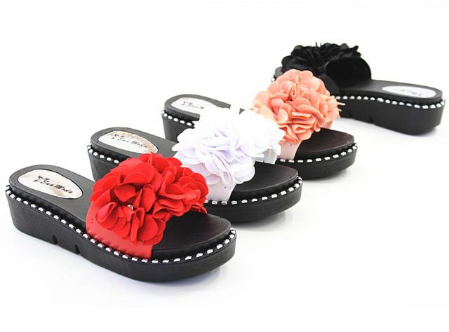 Damen Woman Pantolette Sandale Slip on Blumen Sandaletten Schuhe Mix Slippers Sommer - 5,29 Euro
