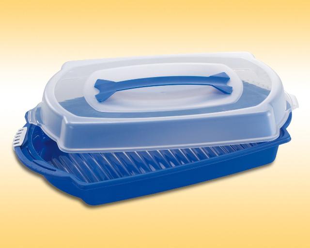 12-800617, Kuchen Container 48 x 30 cm mit Haube und Griff