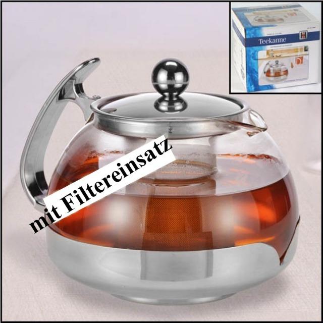 28-160282, Glas Teekanne mit Edelstahl Filtereinsatz, 1,2l Fassungsvermögen