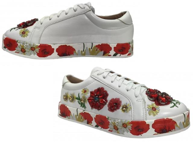 Damen Trend Sneaker Blumen Steine Schnür Schuhe Schuh Shoes Sportschuhe Freizeit Schuh nur 12,49 EUR