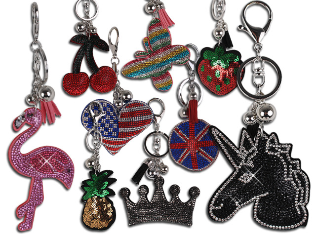 !Trendige Accessoires Bunte Taschenanhänger Schlüsselanhänger Taschen Deko Anhänger Einhorn Flamingo Strass Steine - 2,90 Euro