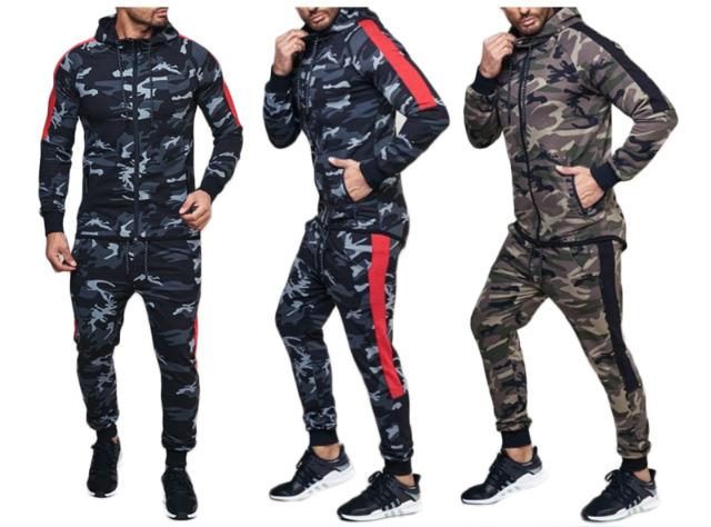 Herren Jogging Anzug Camouflage Trend Streifen Sportanzug Baumwolle Trainingsanzug Trainingsjacke Jogginganzug Hausanzug - 17,90 Euro
