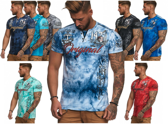 !Herren Men Kurzarm Used Motivdruck Bunt Bedruckt Applikation T-Shirts Rundhals T-Shirt - 6,90 Euro