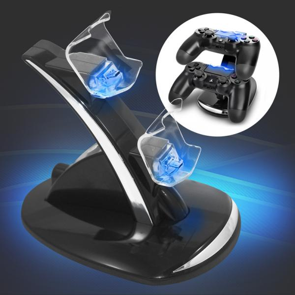 Ladestation Dock für 2x PS4 Controller mit bunter LED Beleuchtung Eaxus